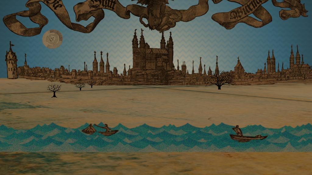 """Bewegtbildmontage aus Sebastian Münsters Vorlage """"Cosmographia"""", Druck der Stadtansicht von Worms 1550"""